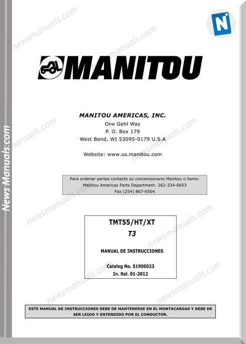 Manitou Forklift Tmt55Ht-Xtt3-51900023 Operator Manuals