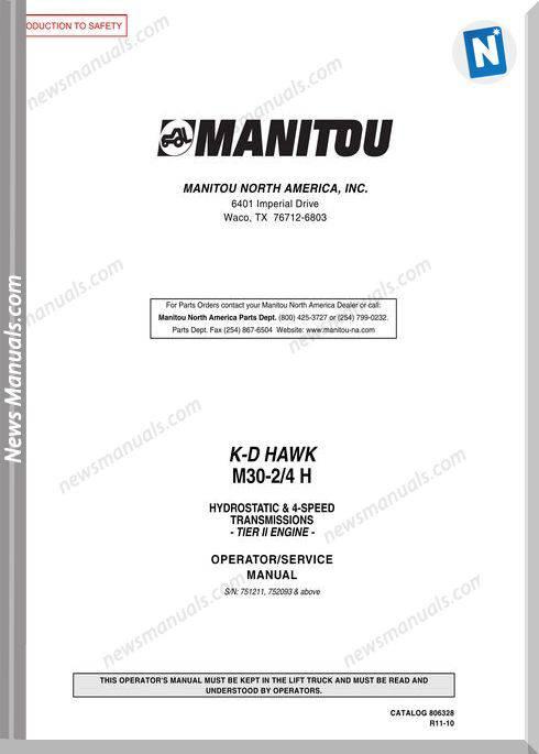 Manitou K-D Hawk M30-24 H Operatorservice Manual