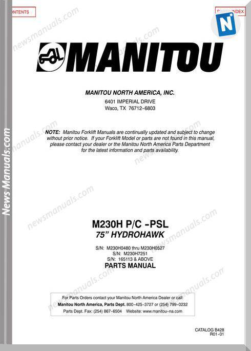 Manitou M 230H Pc -Psl 75 Hydrohawk Parts Manual