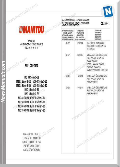 Manitou Mc30-70, M26-50 Parts Catalogue