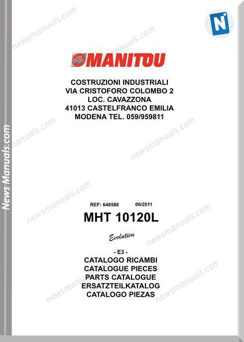 Manitou Mht10120L Telescopic Handler Parts Manuals