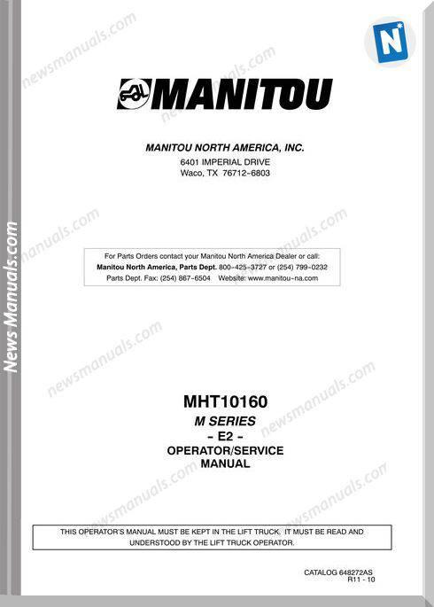 Manitou Mht10160-648272As-Rev.11-10 Operator Manuals