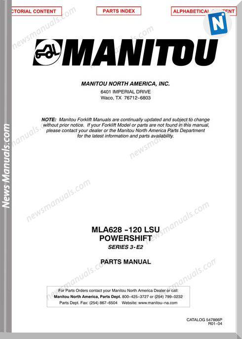Manitou Mla 628 -120 Lsu Series 3-E2 1-04 Parts Manual