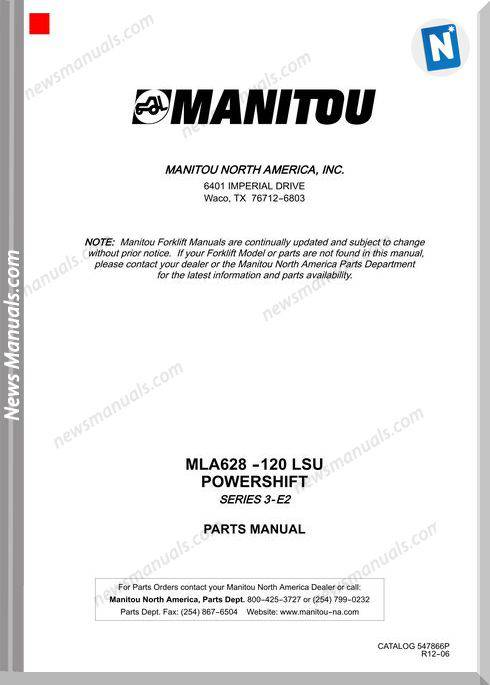 Manitou Mla 628-120 Lsu Series 3-E2 12-06 Parts Manual