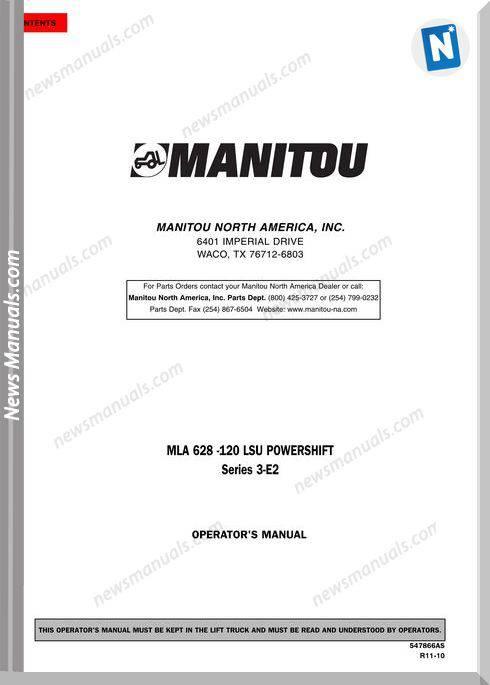 Manitou Mla628-547866Asd-Rev.11-10 Operator Manuals
