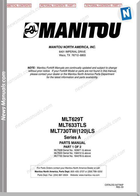 Manitou Mlt 629T Mlt 633Tls 730Tw (120)Ls Parts Manuals