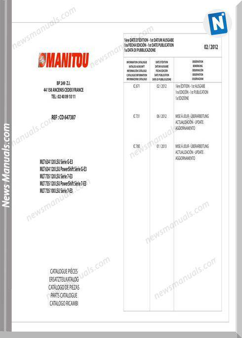 Manitou Mlt 634-120 Lsu Serie Mlt 735-120 Parts Manual