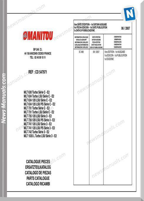 Manitou Mlt Forklift 630-1035 Models Parts Manual