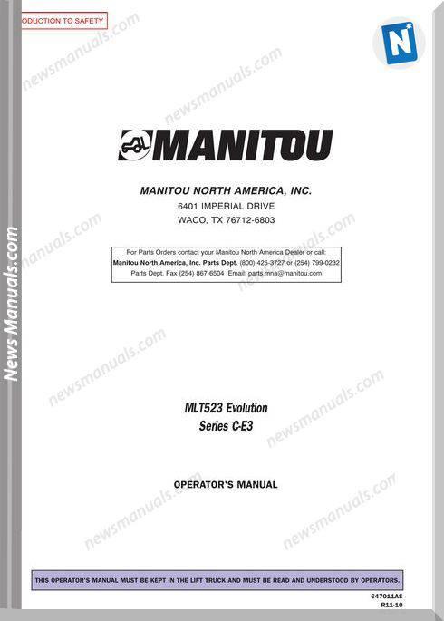 Manitou Mlt523-647011As Rev.11-10 Operator Manuals