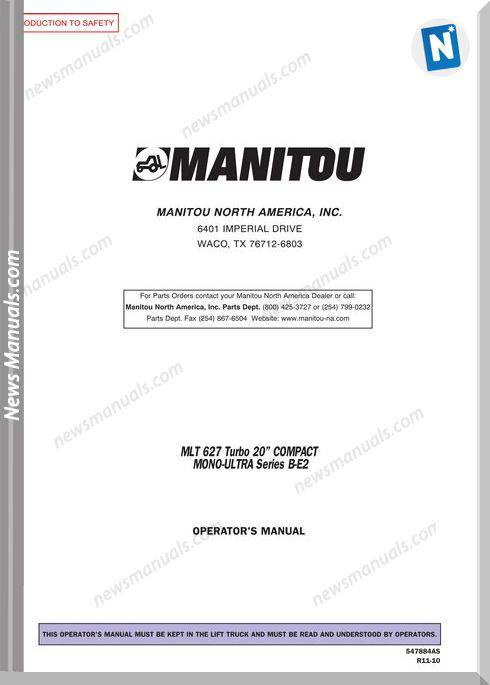 Manitou Mlt627T-547884Asd Rev.11-10 Operator Manuals