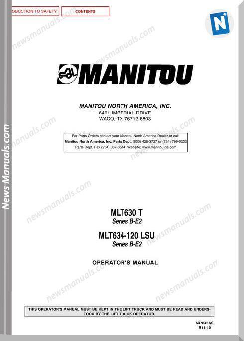 Manitou Mlt630,Mlt634-547845Asd Rev 11 Operator Manual