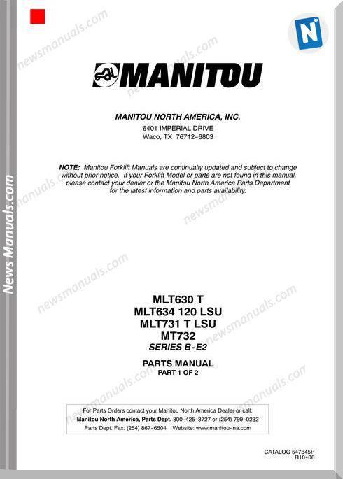 Manitou Mlt630,Mlt634,Mlt731,Mt732Rev.10-06 Part Manual