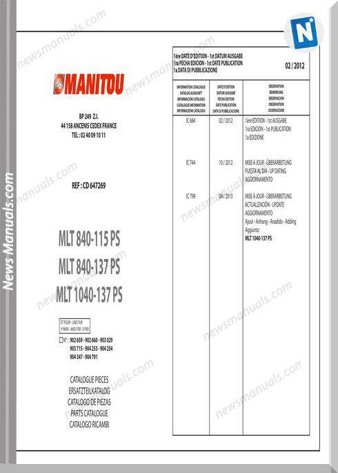 Manitou Mlt840-115-137 Telescopic Handler Parts Manuals