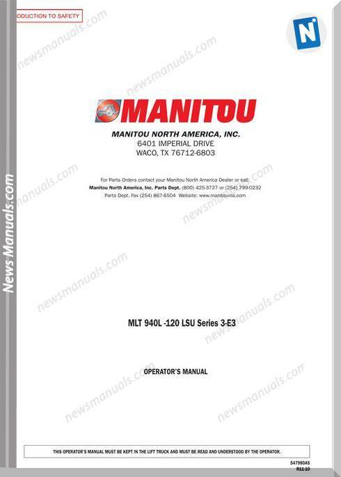 Manitou Mlt940-120-547980Asd-Rev.11-10 Operator Manuals