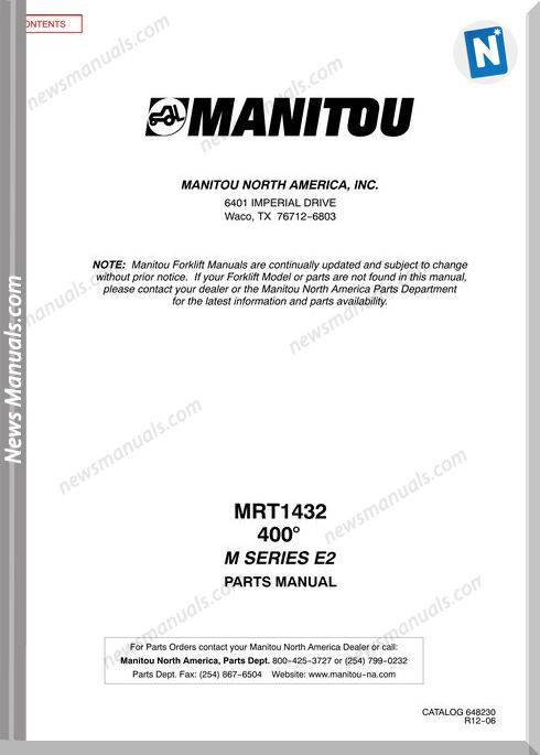 Manitou Mrt1432 Rev.12-06 Parts Manuals