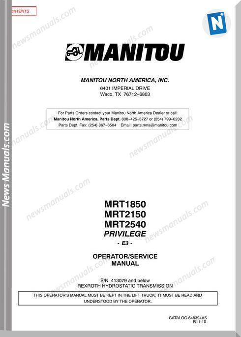 Manitou Mrt2150,Mrt2540-648394Asd Rev11 Operator Manual