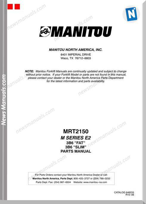 Manitou Mrt2150 Rev.10-06 Parts Manuals