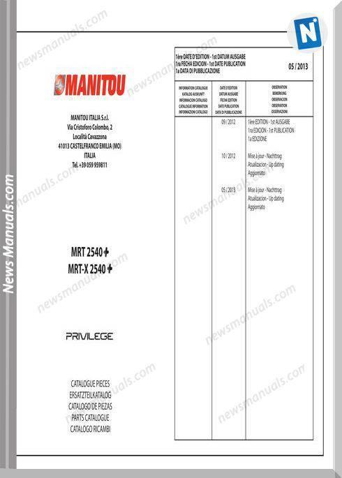 Manitou Mrt2540 Mrt-X2540 + Privilege Parts Manuals