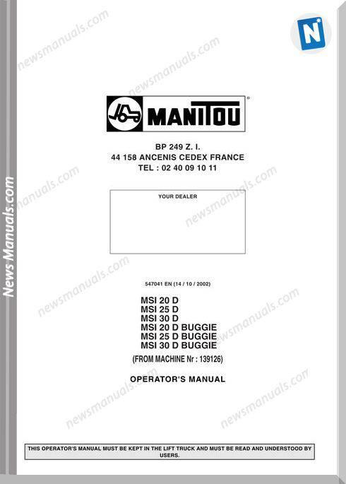 Manitou Msi 202530D-Msi 202530 D Buggie Operator Manual
