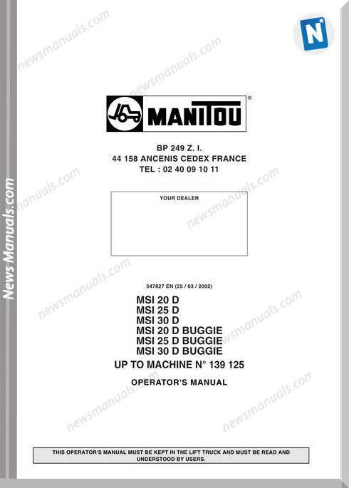 Manitou Msi 202530D Msi 202530D Buggie Operator Manual