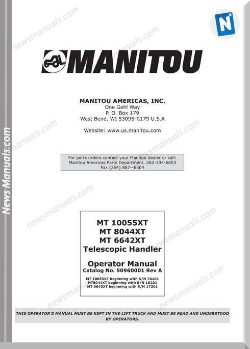 Manitou Mt10055Xt,8044Xt,6642Xt-509601 Operation Manual