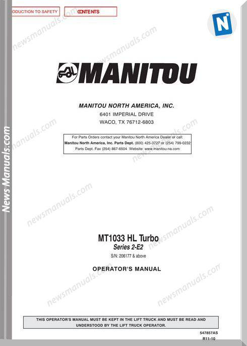 Manitou Mt1033-547857Asd-Rev.11-10 Operator Manuals