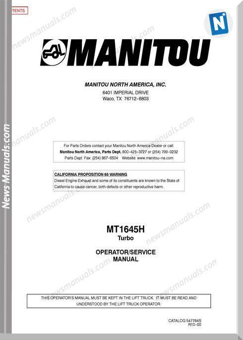 Manitou Mt1645H-547784Sd-Rev.10-00 Operator Manuals