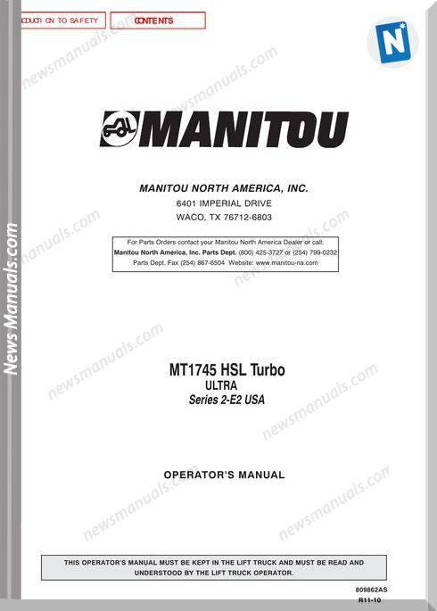 Manitou Mt1745-809862As Rev.11-10 Operator Manuals