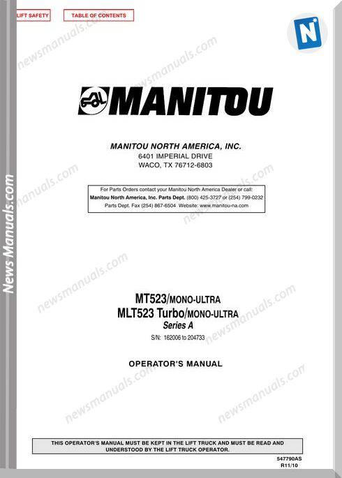 Manitou Mt523,Mlt523-547790As-Rev11-10 Operator Manuals