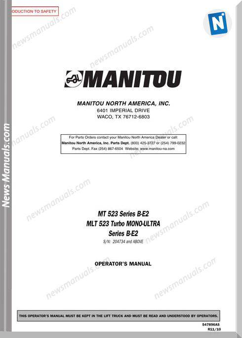 Manitou Mt523,Mlt523-Mu-547896Asd Operator Manuals