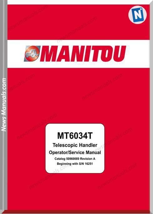 Manitou Mt6034-50960089,16251 Models Operator Manuals