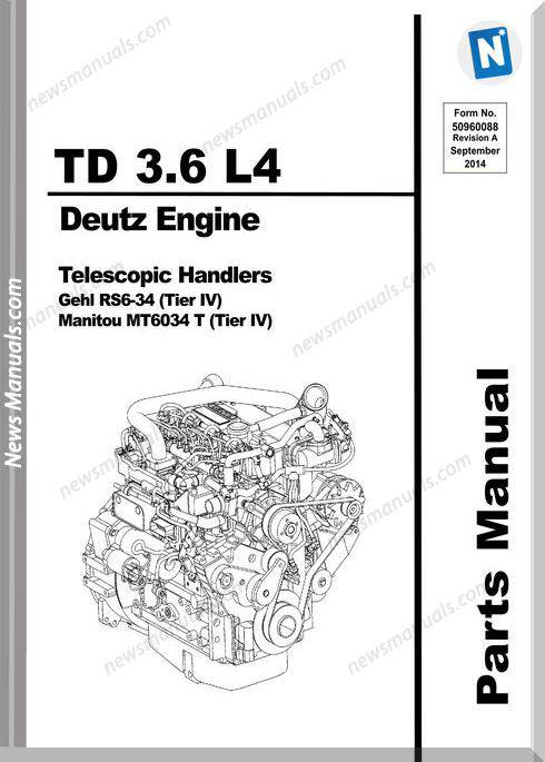 Manitou Mt6034T-50960088A Telescopi Handler Part Manual