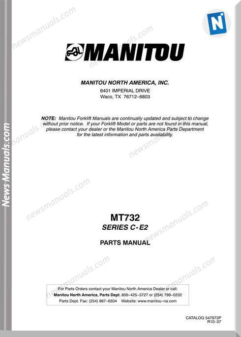 Manitou Mt732 Rev.10-07 Parts Manuals