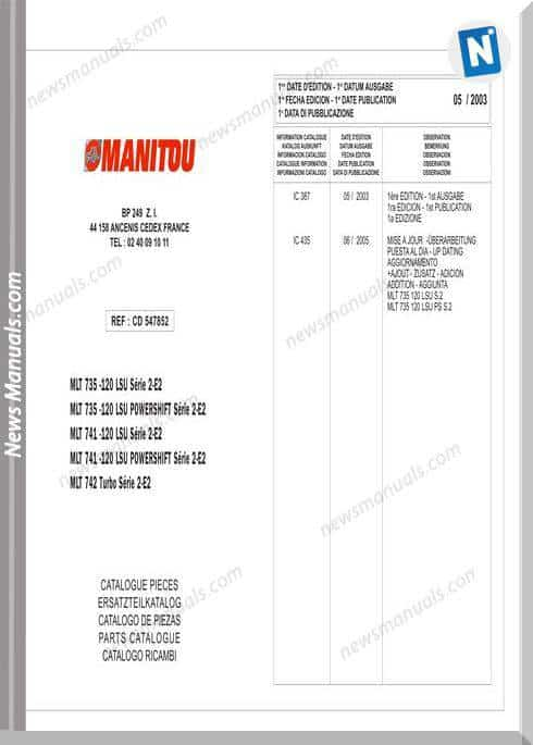 Manitou Mtl735-120 Lsu Series Parts Manuals