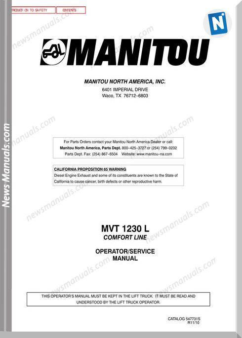 Manitou Mvt1230-547731Sd Rev11-10 Operator Manuals