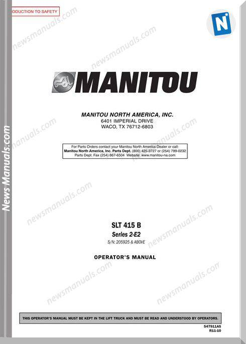 Manitou Slt415B-547911Asd Rev.11-10 Operator Manuals