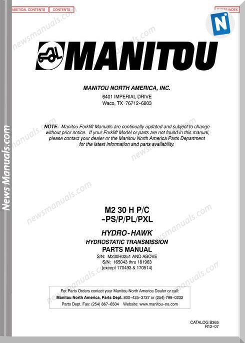 Manitou Telescopico M 230H Pc -Pspplpxl Parts Manual