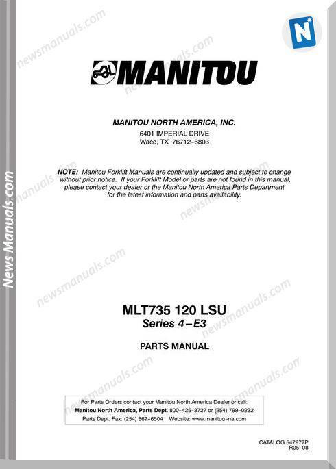 Manitou Telescopico Mlt 735 120 Lsu E3 Part Manual