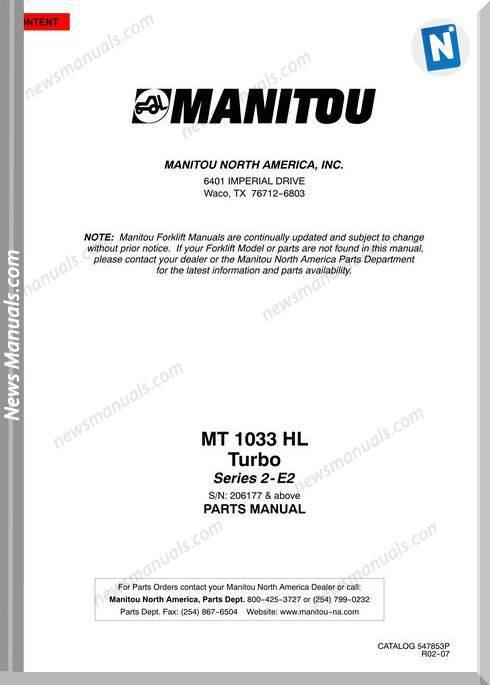 Manitou Telescopico Mt 1033Hl Series 2-E2 Parts Manual