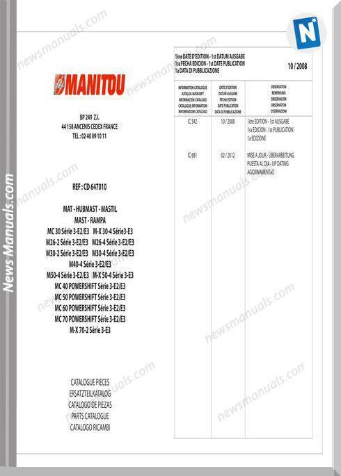 Manitou Telescopico Serie Mc Mx Powershift Parts Manual