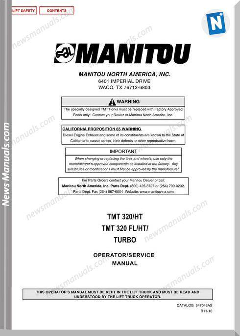 Manitou Tmt320-547043Asd-Rev.09-03 Operator Manuals