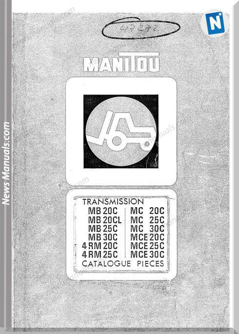 Manitou Transmission Mb20C,20Cl,25,30,4Rmxx Part Manual
