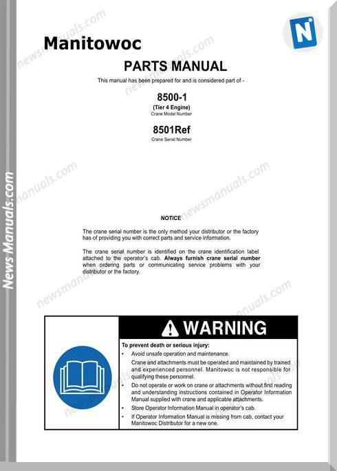 Manitowoc Crane 8500-1 Model Tier 4 Engine Parts Manual