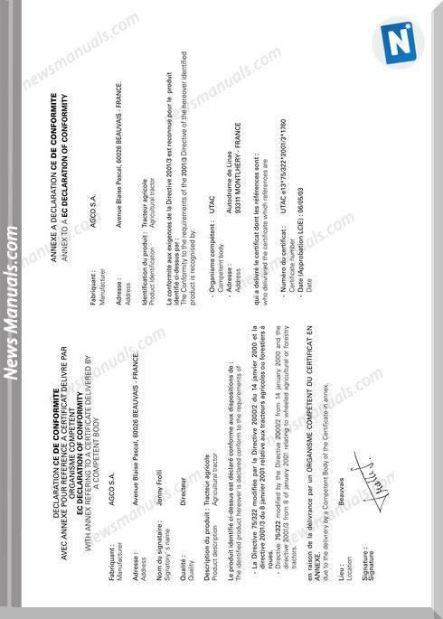 Massey Ferguson 5400 Series Operator Instruction Book