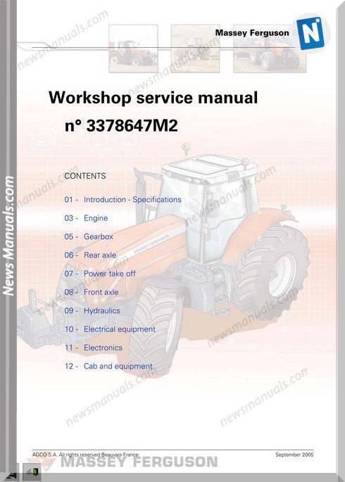 Massey Ferguson 8400 Workshop Service Manual