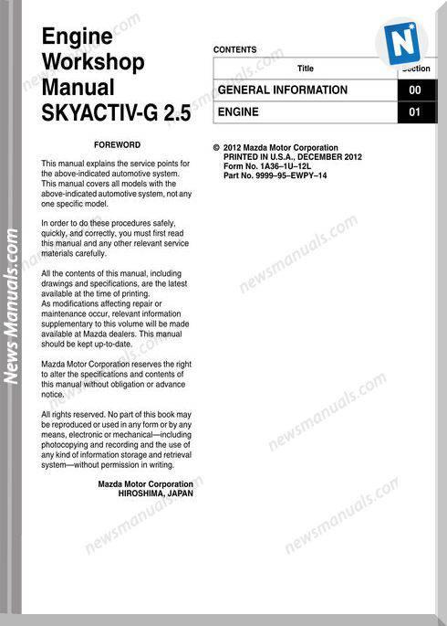 Mazda 6 Engine Skyactiv-G 2.5 1A36-1U-12L Workshop