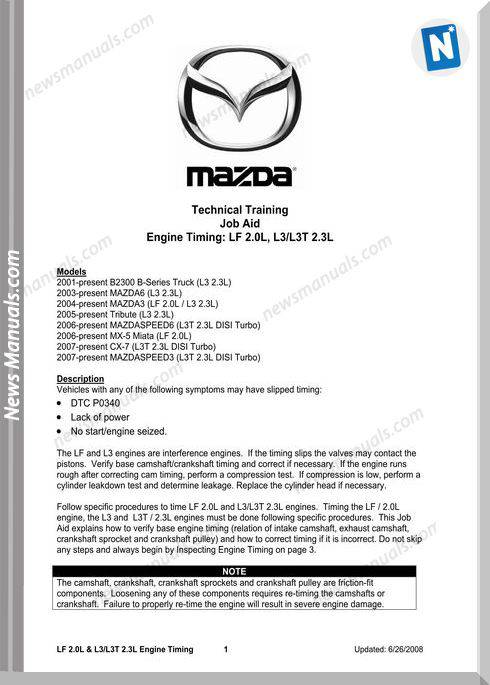Mazda 626 Engine Timing Procedure