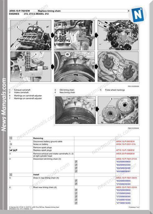 Mercedes M272 M273 Engine Repair Replacing Timing Chain 2015
