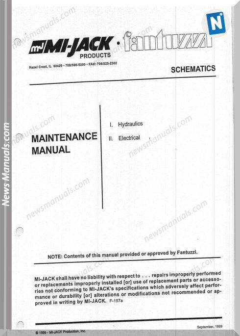 Mi-Jack Cranes Mj18H56 Models Maintenance Manual