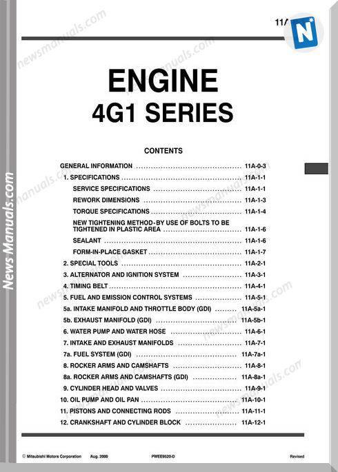 Mitsubishi Engine 4G1 Models Series Shop Manual